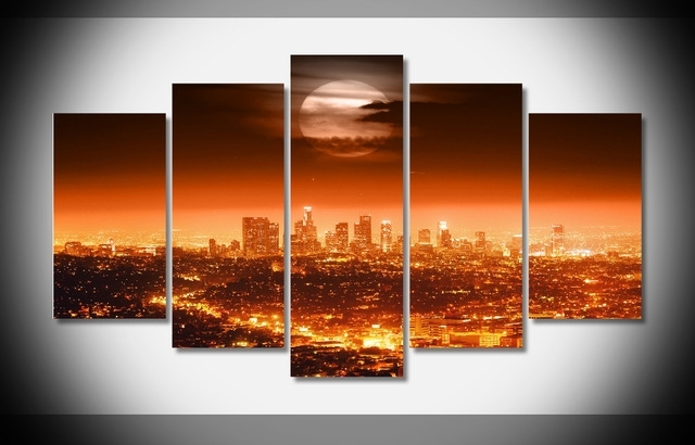4490 Usa City Lights Night Los Angeles Skyline Moon Poster Gallery Throughout Los Angeles Canvas Wall Art (View 14 of 15)