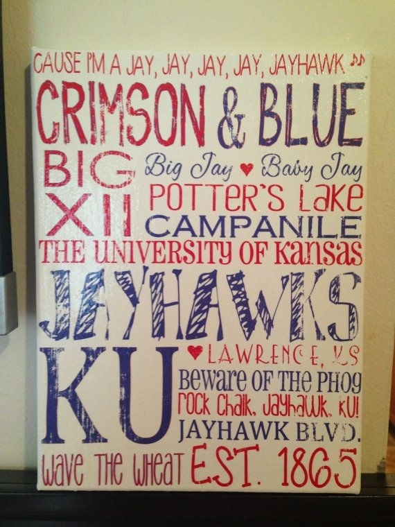 487 Best Rock Chalk Love Images On Pinterest | Kansas Jayhawks Pertaining To Ku Canvas Wall Art (View 6 of 15)