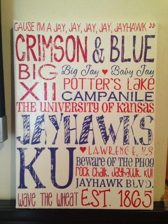 487 Best Rock Chalk Love Images On Pinterest | Kansas Jayhawks Pertaining To Ku Canvas Wall Art (Image 1 of 15)