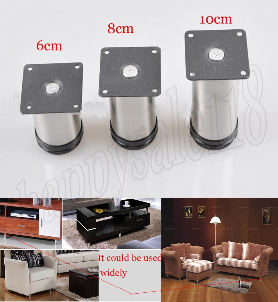4Pcs 8Cm Metal Stainless Steel Furniture Cabinet Stand Leg Height Intended For Sofas With Adjustable Legs (Photo 4 of 10)