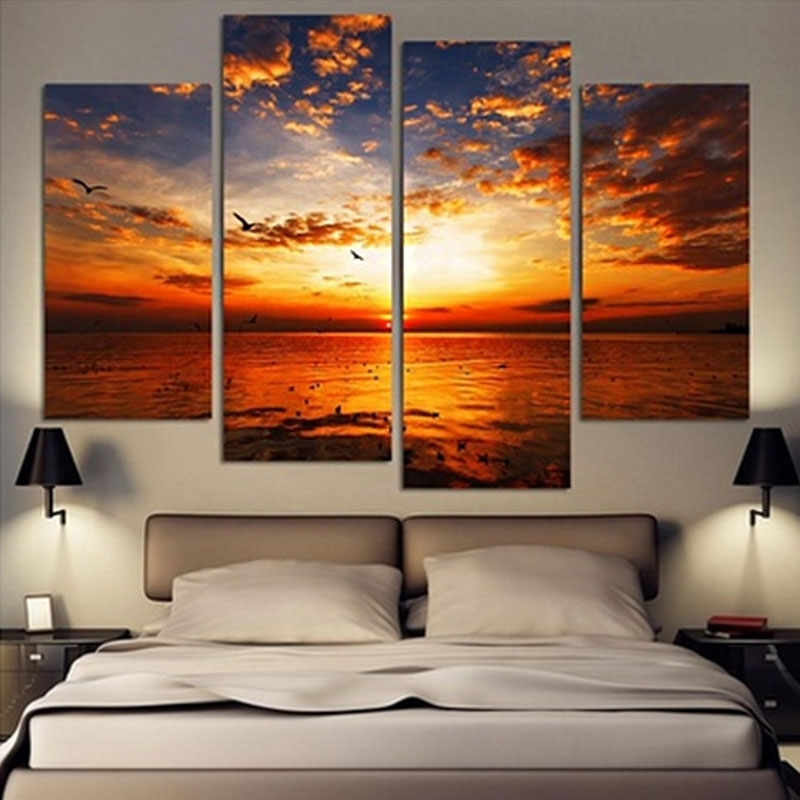 4Pcs/lot Modern Landscape Canvas Wall Art Print Oil Painting Home For Landscape Canvas Wall Art (Photo 10 of 15)