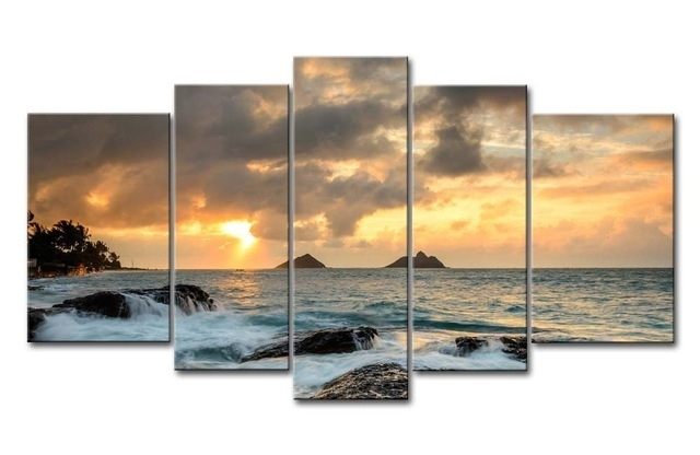 5 Hd Panels Unframed Giclee Canvas Prints Landscape Hawaii White Pertaining To Hawaii Canvas Wall Art (Photo 2 of 15)