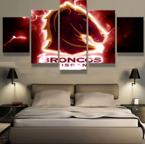 5 Panel Brisbane Broncos Canvas Wall Art | Welcome To Canvas Print Inside Brisbane Canvas Wall Art (Image 4 of 15)