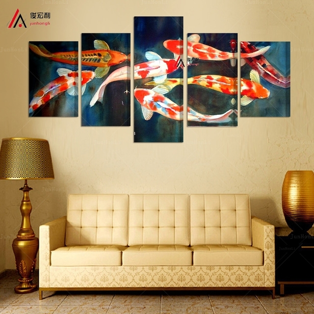 5 Panel Canvas Prints Koi Fish Art Chinese Painting Printed Home For Koi Canvas Wall Art (Image 9 of 15)