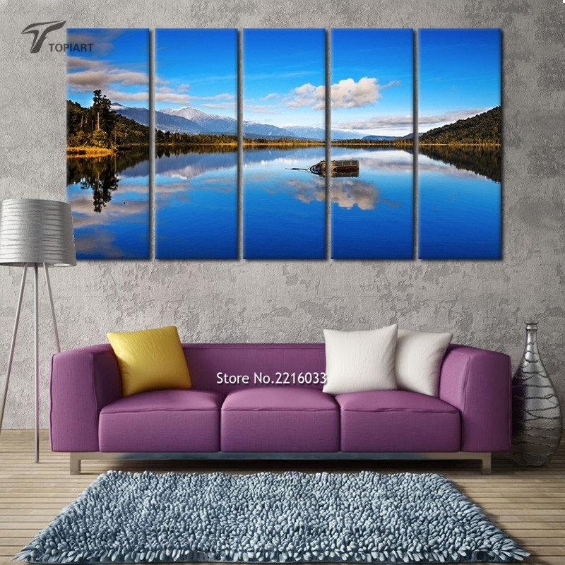 5 Panel Canvas Wall Art Blue Lake View New Zealand Scenery Large In New Zealand Canvas Wall Art (Photo 12 of 15)