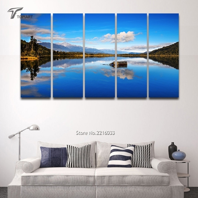 5 Panel Canvas Wall Art Blue Lake View New Zealand Scenery Large Regarding New Zealand Canvas Wall Art (Photo 1 of 15)