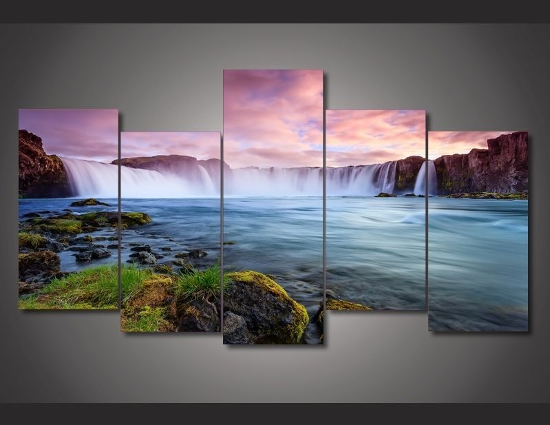 """5 Panel """"emperor Falls"""" Canvas Painting 