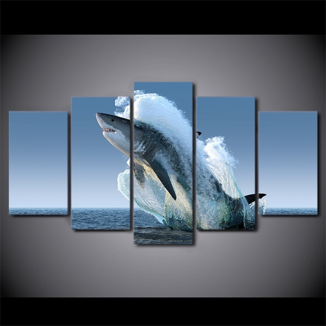 5 Panel Framed Hd Printed Jumping White Shark Seascape Canvas Wall For Jump Canvas Wall Art (Photo 14 of 15)
