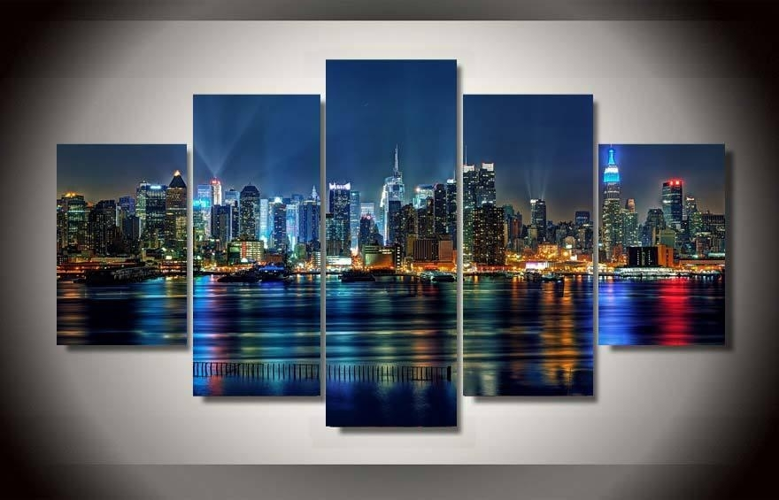 5 Panel Framed Printed New York City Painting On Canvas Room With Gold Coast Canvas Wall Art (Image 1 of 15)