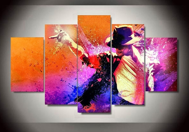 5 Panel Grammy Lifetime Achievement Award Michael Jackson Home With Michael Jackson Canvas Wall Art (Image 2 of 15)