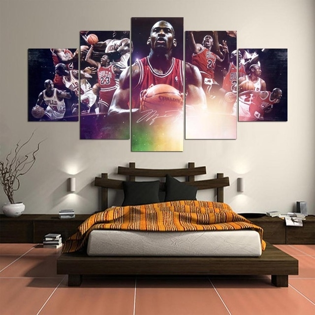 5 Panel Hd Printed Painting Michael Jordan Canvas Home Decor Wall Regarding Michael Jordan Canvas Wall Art (Image 3 of 15)