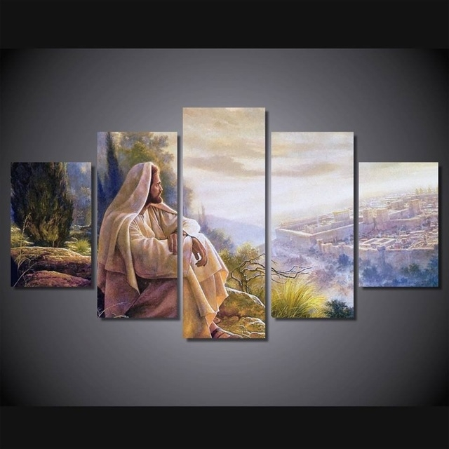 5 Panel Hot Sale Printed Group Canvas Painting Jesus Canvas Print With Regard To Jesus Canvas Wall Art (Image 4 of 15)
