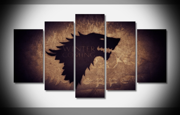 """5 Panel """"house Stark"""" Game Of Thrones Canvas Wall Art 