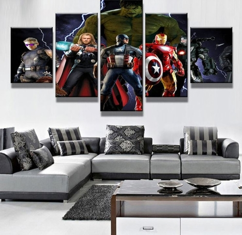 5 Panel Marvel's The Avengers Characters Canvas Wall Art | Welcome In Marvel Canvas Wall Art (View 7 of 15)