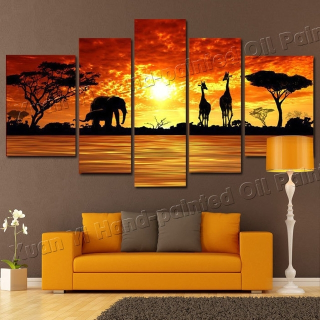 5 Panel Modern Hand Painted African Safari Landscape Oil Painting In Safari Canvas Wall Art (Photo 4 of 15)