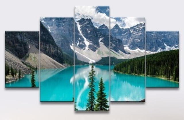 5 Panel Oil Painting Free Shipping Canada View Canvas Wall Hanging Inside Canvas Wall Art In Canada (Image 4 of 15)