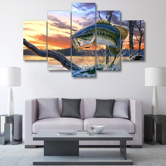 5 Panel Printed Modular Canvas Oil Painting Jumping Fish Canvas Regarding Jump Canvas Wall Art (Image 5 of 15)