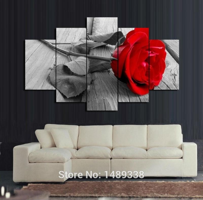 5 Panel Red Rose Canvas Oil Painting Home Decoration Wall Art In Roses Canvas Wall Art (Photo 1 of 15)