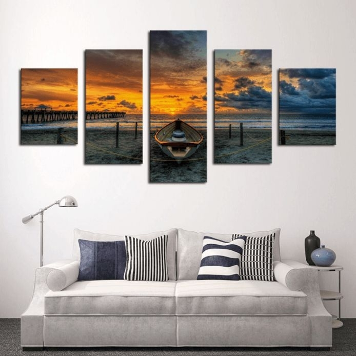 "5 Panel ""the Ashton Boat"" Canvas Wall Art 