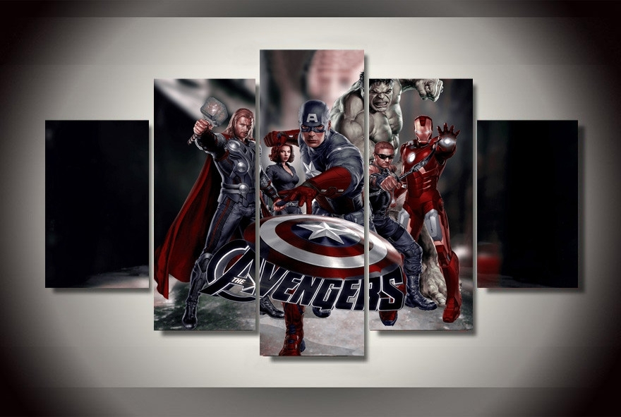 "5 Panel ""the Avengers Movie"" Canvas Painting 