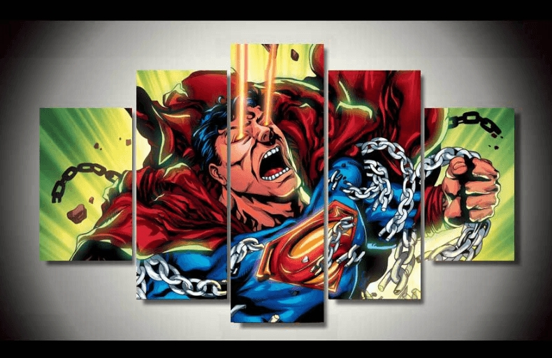 "5 Panel ""unlocking The Chain"" Superman Canvas Painting 