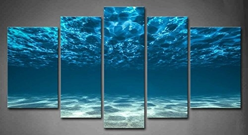 5 Panel Wall Art Blue Ocean Bottom View Beneath Surface Painting with Ocean Canvas Wall Art