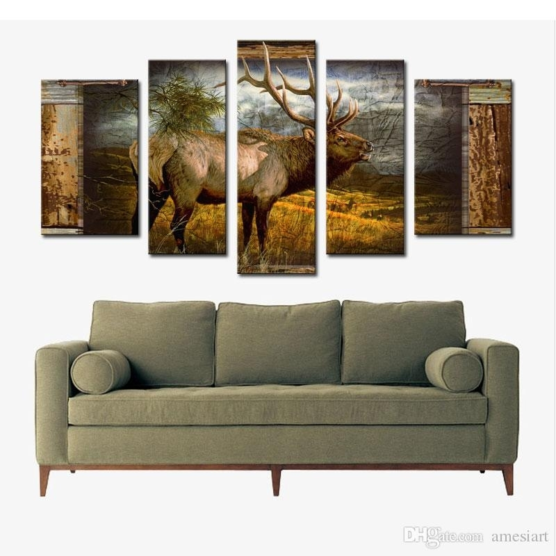 5 Panel Wall Art Deer Buck In Jungle Painting The Picture Print On In Deer Canvas Wall Art (View 3 of 15)