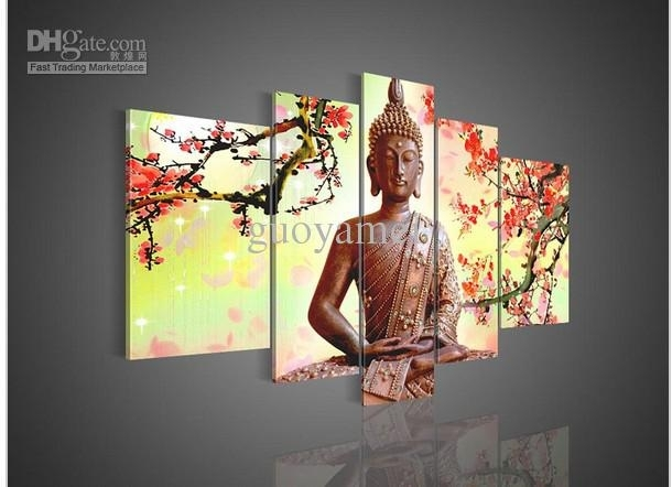 5 Panel Wall Art Religion Buddha Oil Painting On Canvas No Intended For Religious Canvas Wall Art (Image 1 of 15)