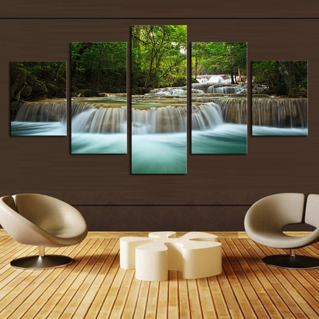 5 Panel Waterfall Painting Canvas Wall Art Picture Home Decoration With Regard To Living Room Canvas Wall Art (View 13 of 15)