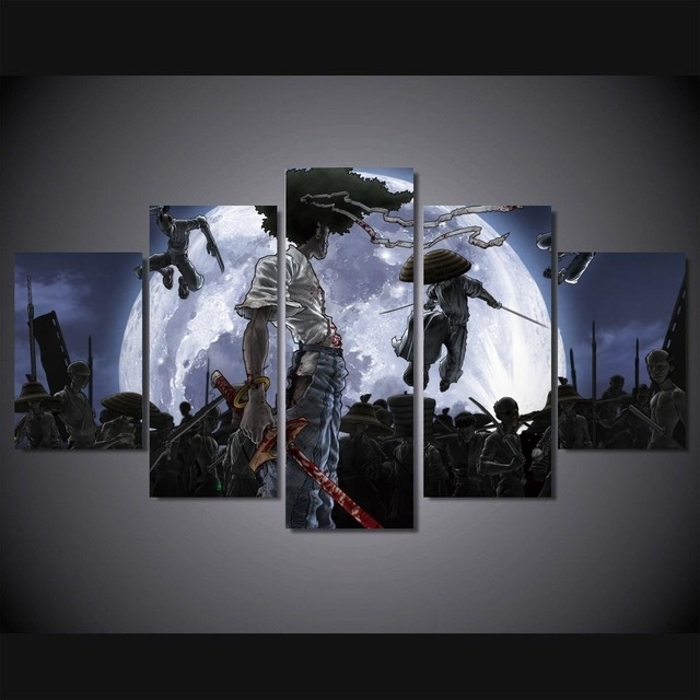 5 Panels Anime Canvas Print Painting Modern Afro Samurai Canvas in Anime Canvas Wall Art