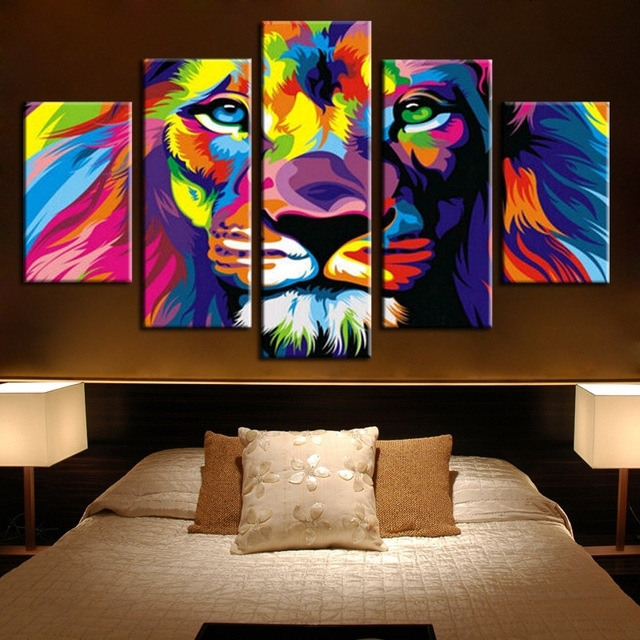 5 Panels Canvas Prints Framed 5 Panels Modern Animal Lion King With Regard To Lion King Canvas Wall Art (Image 2 of 15)