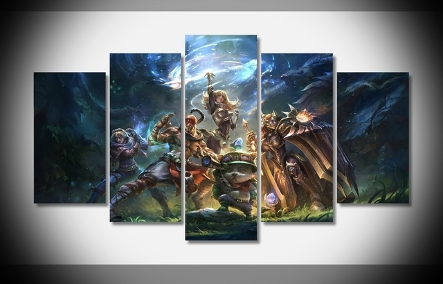 5 Panels Canvas Prints League Of Legends Canvas Painting Poster Throughout Anime Canvas Wall Art (View 3 of 15)