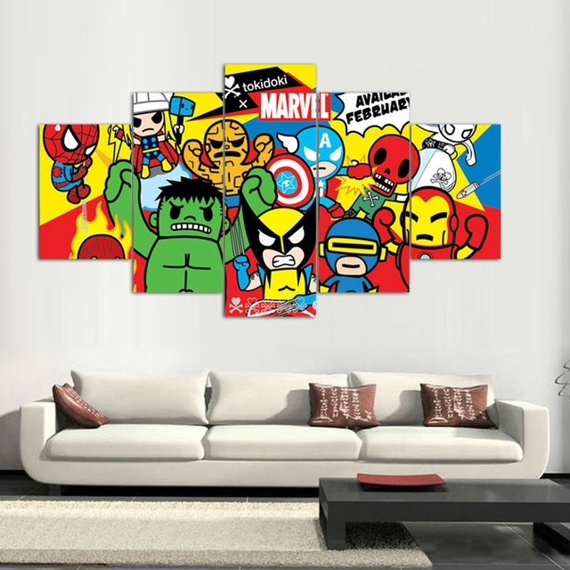 5 Panels Canvas Prints Tokidoki Marvel Artwork Canvas Painting with regard to Marvel Canvas Wall Art