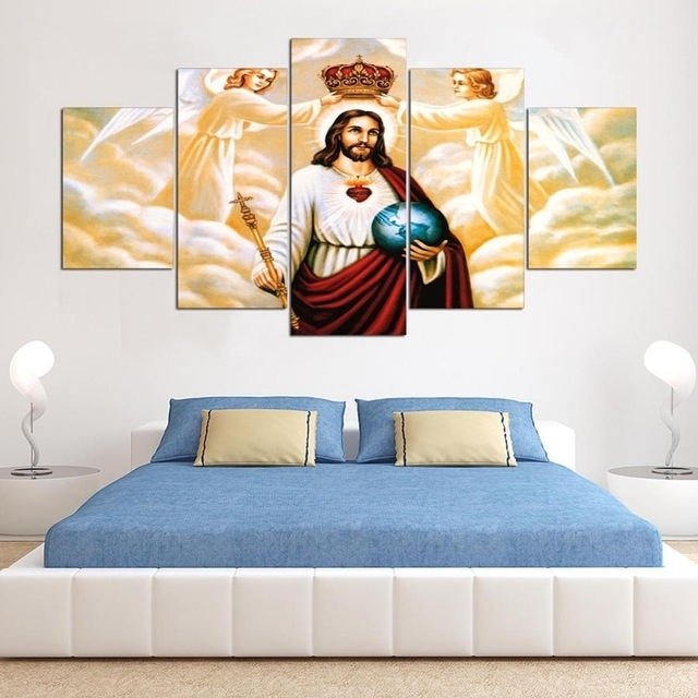 5 Panels Canvas Wall Art Modular Frame Picture Landscape Jesus For Jesus Canvas Wall Art (Image 5 of 15)