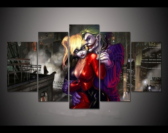 5 Panels Fashion Movie Canvas Prints Painting Wall Art 5 Pieces regarding Joker Canvas Wall Art