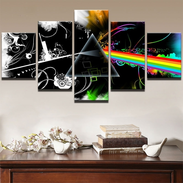 5 Panels Hot Music Canvas Prints Painting Wall Art 5 Pieces Regarding Music Canvas Wall Art (Image 3 of 15)