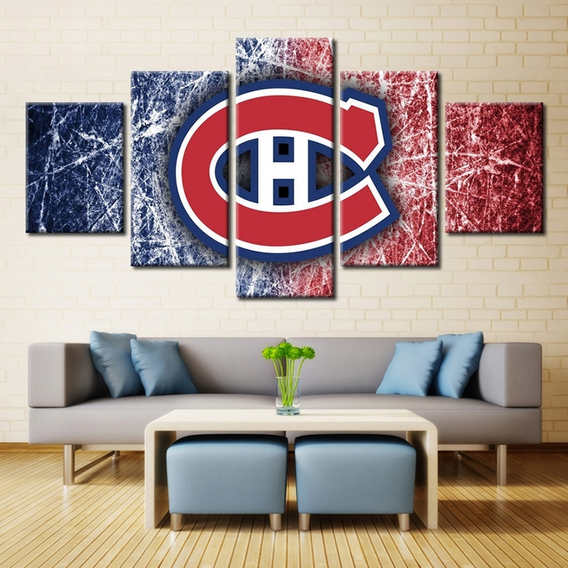 5 Panels Montreal Canadiens Professional Ice Hockey Team Modern Intended For Montreal Canvas Wall Art (View 3 of 15)