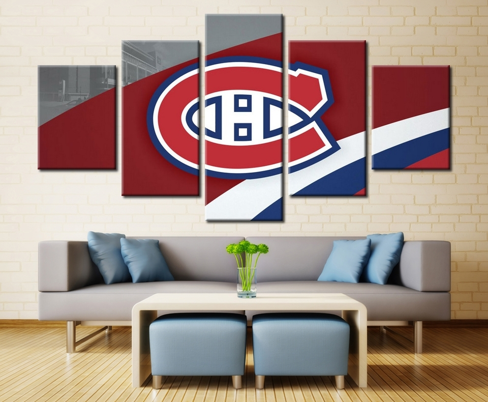 5 Panels Montreal Canadiens Professional Ice Hockey Team Modern With Montreal Canvas Wall Art (View 8 of 15)
