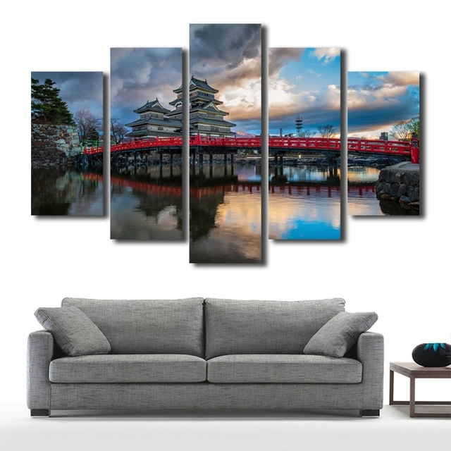 5 Panels/set Frameless Hd Canvas Painting Artwork Modern Building pertaining to Japanese Canvas Wall Art