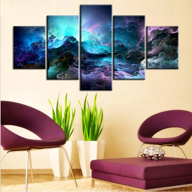 5 Pc Set Light Blue Abstract Cloud No Frame Oil Painting Canvas Intended For Light Abstract Wall Art (Image 3 of 15)