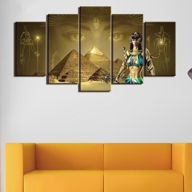 5 Pcs Framed Hd Printed Khufu Pyramid Egyptian Pharaoh Home Decor In Egyptian Canvas Wall Art (View 15 of 15)