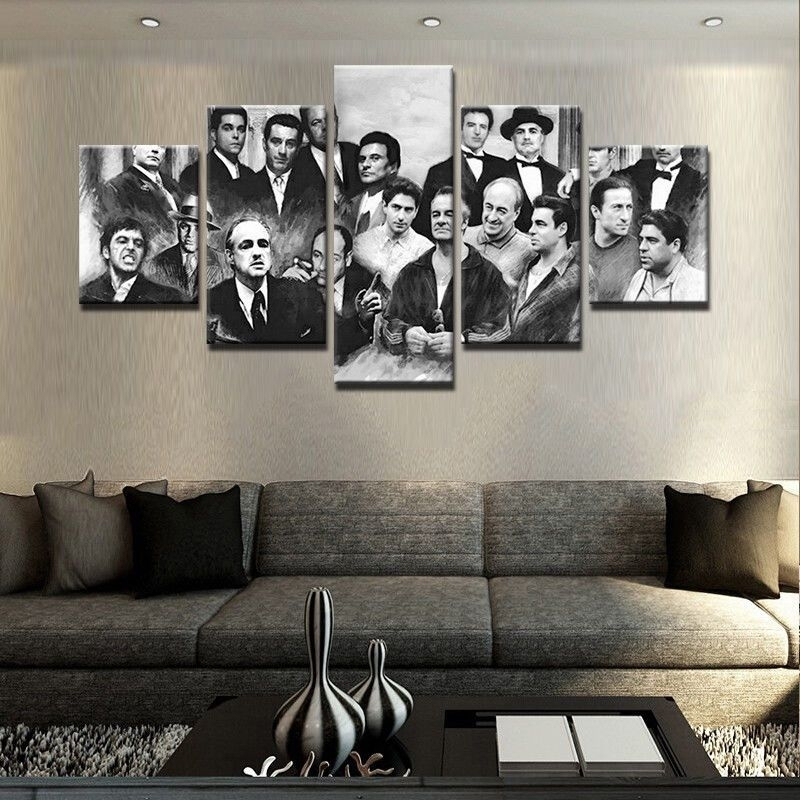 5 Pcs Gangster Movie Painting Print Modern Canvas Wall Art Poster with regard to Movies Canvas Wall Art