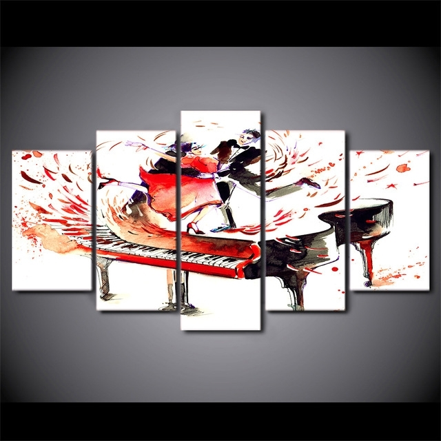 5 Pcs/set Hd Printed Abstract Piano Couple Dance Modern Wall Decor With Abstract Piano Wall Art (Image 3 of 15)