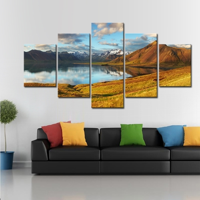 5 Pcs/set Mountains With Lake Canvas Print Painting Modern Large intended for Mountains Canvas Wall Art