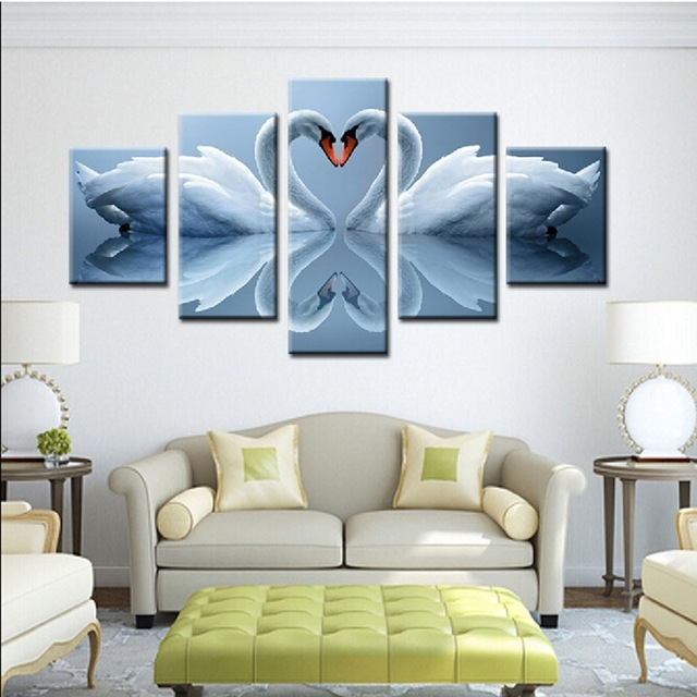 5 Piece A Pair Swan Loving Heart Wall Painting View Modern Home Intended For Canvas Wall Art Pairs (Image 6 of 15)