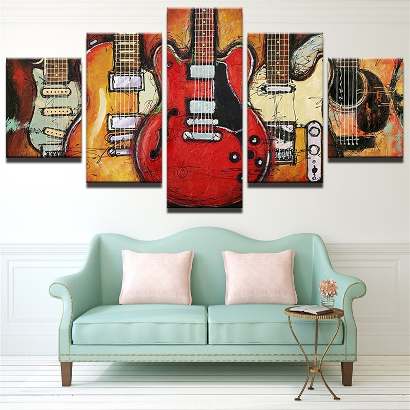 5 Piece Abstract Canvas Wall Art Acoustic Guitar Lover Music for Abstract Wall Art Posters