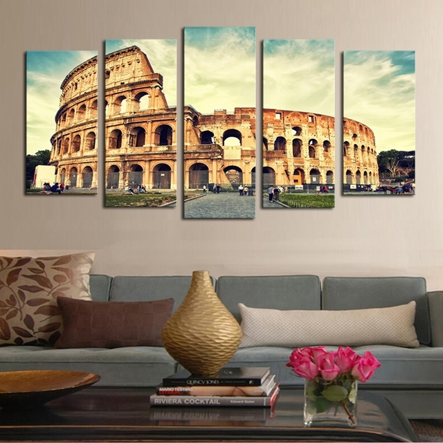 5 Piece Art Classical Architecture Scenery Rome Colosseum Print Regarding Canvas Wall Art Of Rome (View 7 of 15)