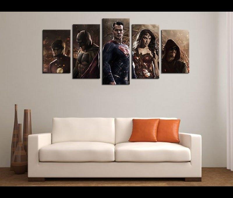 5 Piece Canvas Art Justice League Movie Canvas Wall Art Decor throughout Movies Canvas Wall Art