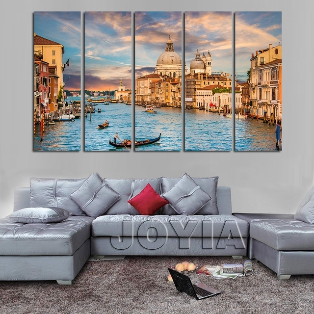 5 Piece Canvas Art Landscape Venice Italy Painting On Canvas Water With Regard To Italy Canvas Wall Art (Image 4 of 15)