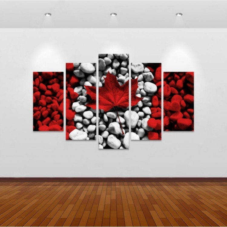 5 Piece Canvas Art New Canada Flag Wall Art Canvas Painting Intended For Canvas Wall Art In Canada (View 5 of 15)